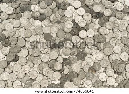 Massive Pile of US Quarters - stock photo