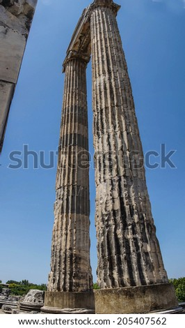 Massive stone columns of the Apollo temple  at Didyma,  Turkey - stock photo