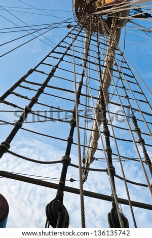 Mast and rigging of an old sailing vessel - stock photo