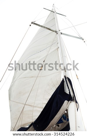 mast and sail isolated on white background