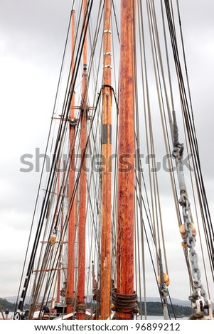 mast of an old sailing ship Norwegian - stock photo