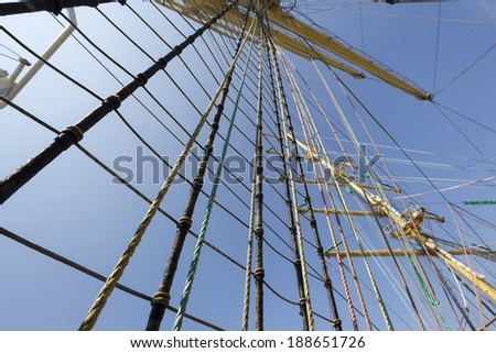 Mast of old sailing ship