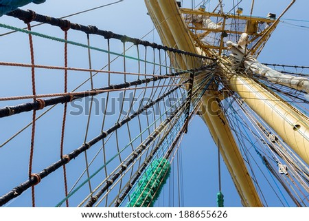Mast of old sailing ship - stock photo