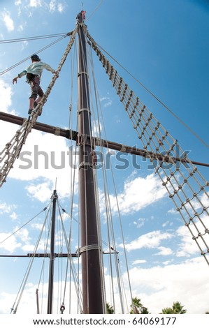 Mast of the replica of a Columbus's ship - stock photo