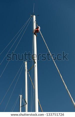 Mast sailing yachts - stock photo