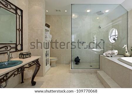 Luxury Master Bathroom Shower master bath luxury home large step stock photo 109770068