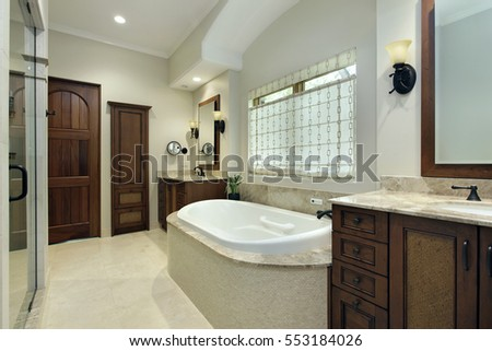 Master bathroom in luxury home with bathtub
