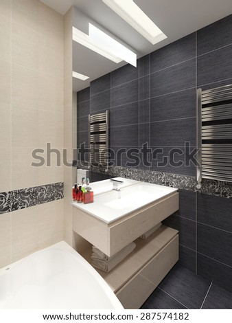 Master bathroom in modern style. 3d visualization