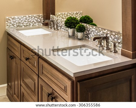 Master Bathroom Sinks and Vanity in Luxury Home - stock photo