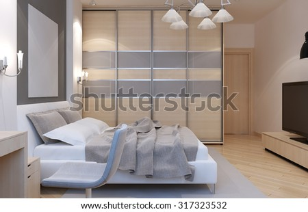 Master bedroom art deco style. Large closet with sliding doors, white walls and light laminate. 3D render - stock photo