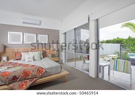 master bedroom in modern Australian townhouse