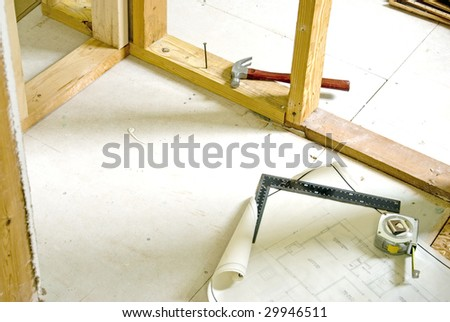 Master bedroom remodeling project in progress. - stock photo