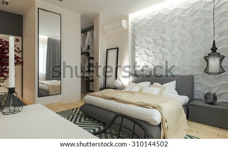 Master bedroom with dressing room 3D panels in a modern style, 3D illustration