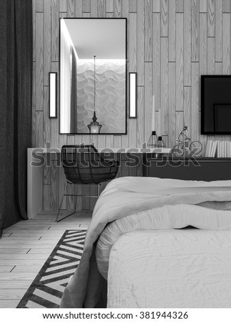 Master bedroom with dressing room 3D panels in a modern style. 3D rendering