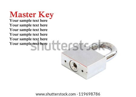 Master key lock Isolated On White Background with sample text - stock photo