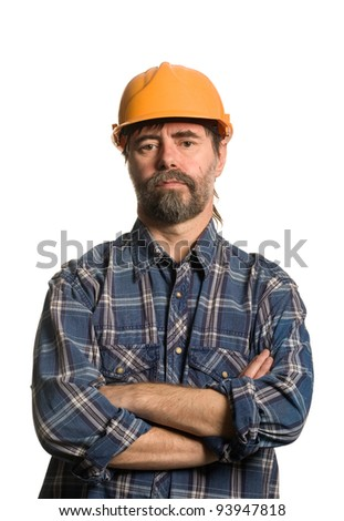 Master of construction in the helmet. - stock photo