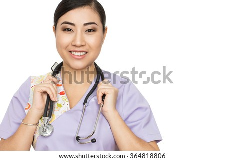 Master of healthcare. Closeup studio portrait of a smiling attractive Asian female doctor wearing stethoscope - stock photo