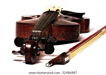 master violin with bow isolated on white background - stock photo