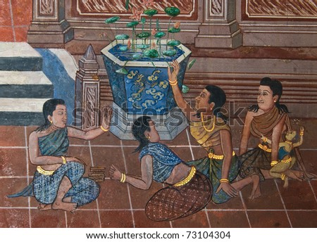 masterpiece of traditional Thai style painting art old about Ramayana story on temple wall at  Watphrakaew, Bangkok,Thailand - stock photo