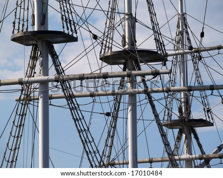 Masts with ropes - stock photo