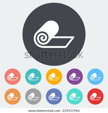 Mat for fitness. Single flat icon on the circle.  - stock photo