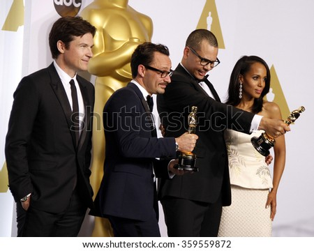 Mat Kirby, James Lucas, Jason Bateman and Kerry Washington at the 87th Annual Academy Awards - Press Room held at the Loews Hollywood Hotel in Los Angeles, USA on February 22, 2015. - stock photo