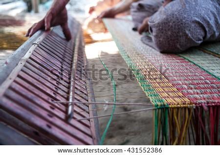 Mat making in Dinh Yen mat village, Dong Thap province, Vietnam