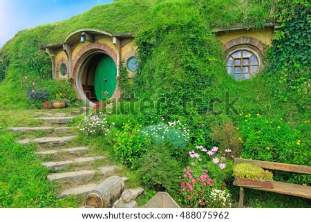 MATAMATA, NEW ZEALAND - JANUARY 15, 2015: Hobbiton - movie set created for filming the Lord of the Rings.