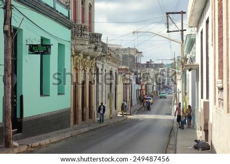 MATANZAS, CUBA - DECEMBER 14, 2014: A street in the center of Matanzas, Cuba. - stock photo