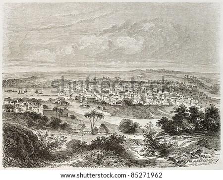 Matanzas old view, Cuba. Created by Lancelot after Mialhe, published on Le Tour du Monde, Paris, 1860 - stock photo
