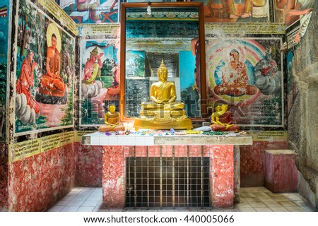 MATARA, SRI LANKA - MARCH 28, 2016: Weherahena buddhist temple is said be the largest and the first tunnel temple in the world.The 600 feet tunnel was fist build by excavating the mound of earth.