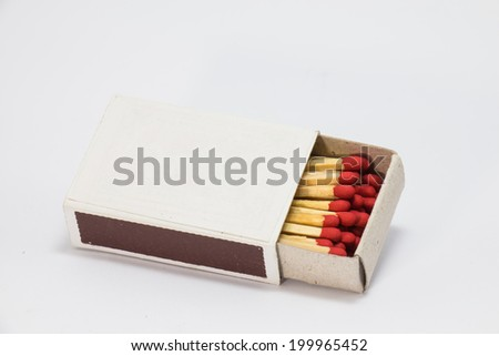 Match in a box in white background - stock photo