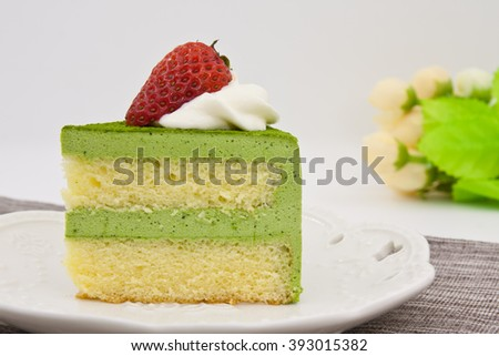 Matcha mousse cake with strawberry