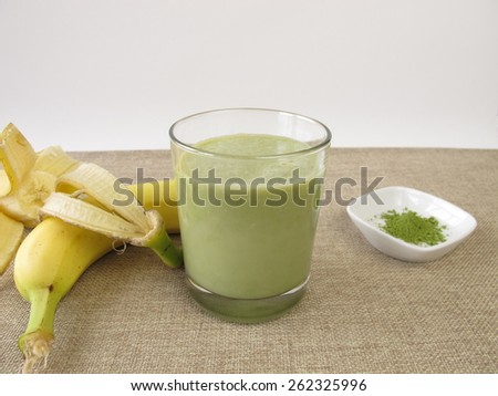 Matcha shake with banana - stock photo