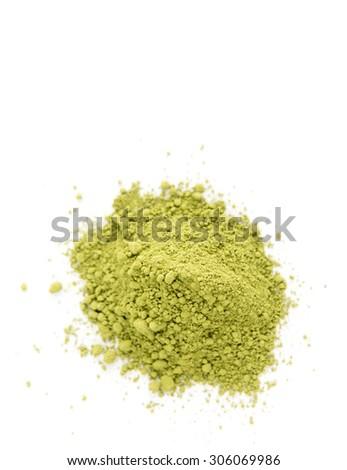 Matcha Tea Powder on White Background - stock photo