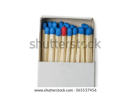 Matchbox with blue and one red matches isolated on white background