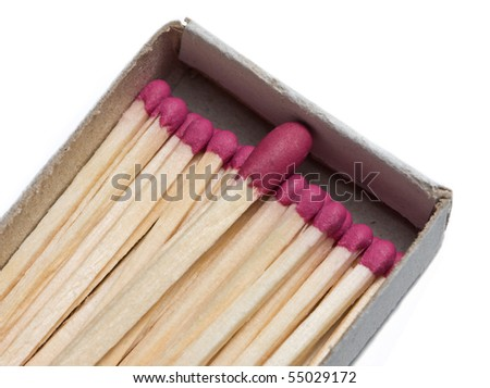 Matchbox with matches different size isolated on white, teamwork concept - stock photo