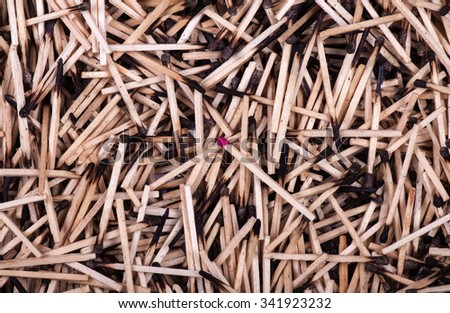 Matchbox with matches on a background of burnt matches