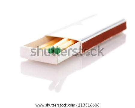 Matchbox with stylish black matches with white heads. Close-up with focus on the match head. Isolated on white background. - stock photo