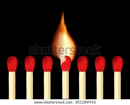 Matches and burning match on black background. Raster version