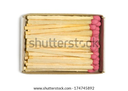 Matches in a paper box. An isolated white background. - stock photo