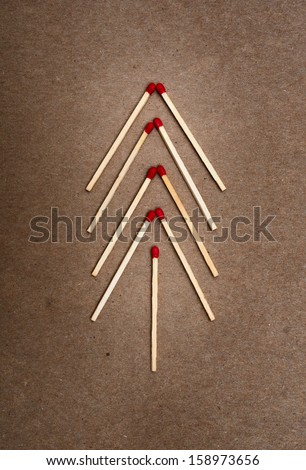 matches on a brown background - stock photo