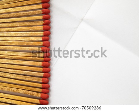 Matches on the white paper background