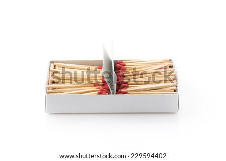 matches stick on white background - stock photo