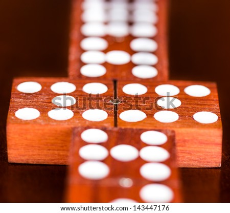 Matching domino tiles (detail of a game) - stock photo