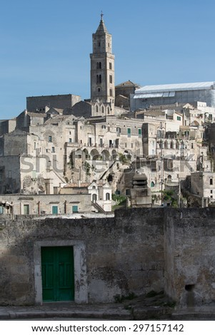 Matera, a green door at the entrance to the Sassi