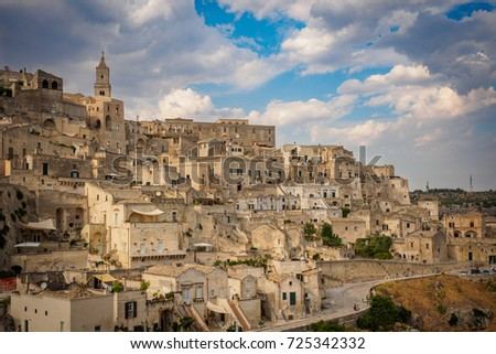 Matera (Italy), September 2017. Panoramic view of the Sasso Caveoso from the Belvedere.