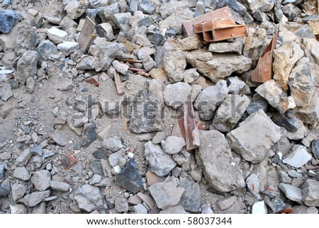 material from demolished house - stock photo
