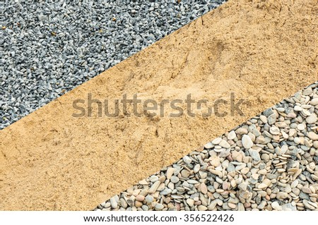 Material samples of sand, split and gravel in close-up for background