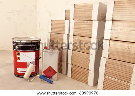 materials for laying parquet - stock photo